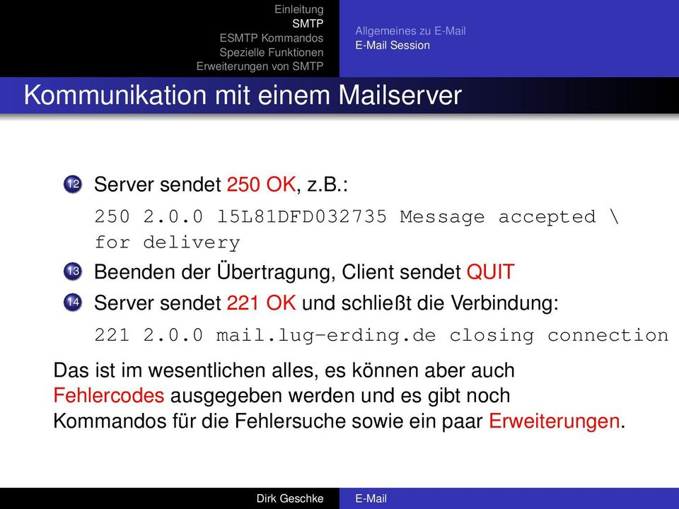 2.0.0 l5l81dfd032735 Message accepted \ for delivery 13 Beenden der Übertragung, Client sendet QUIT 14 Server