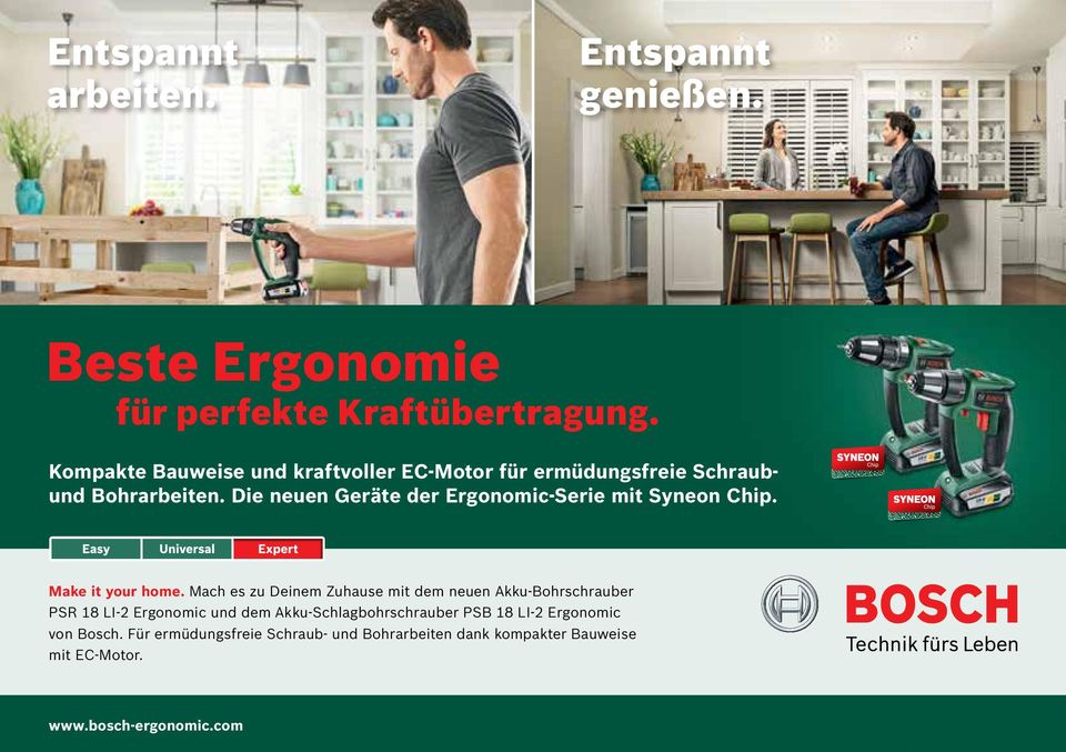 Die neuen Geräte der Ergonomic-Serie mit Syneon Chip. Make it your home.