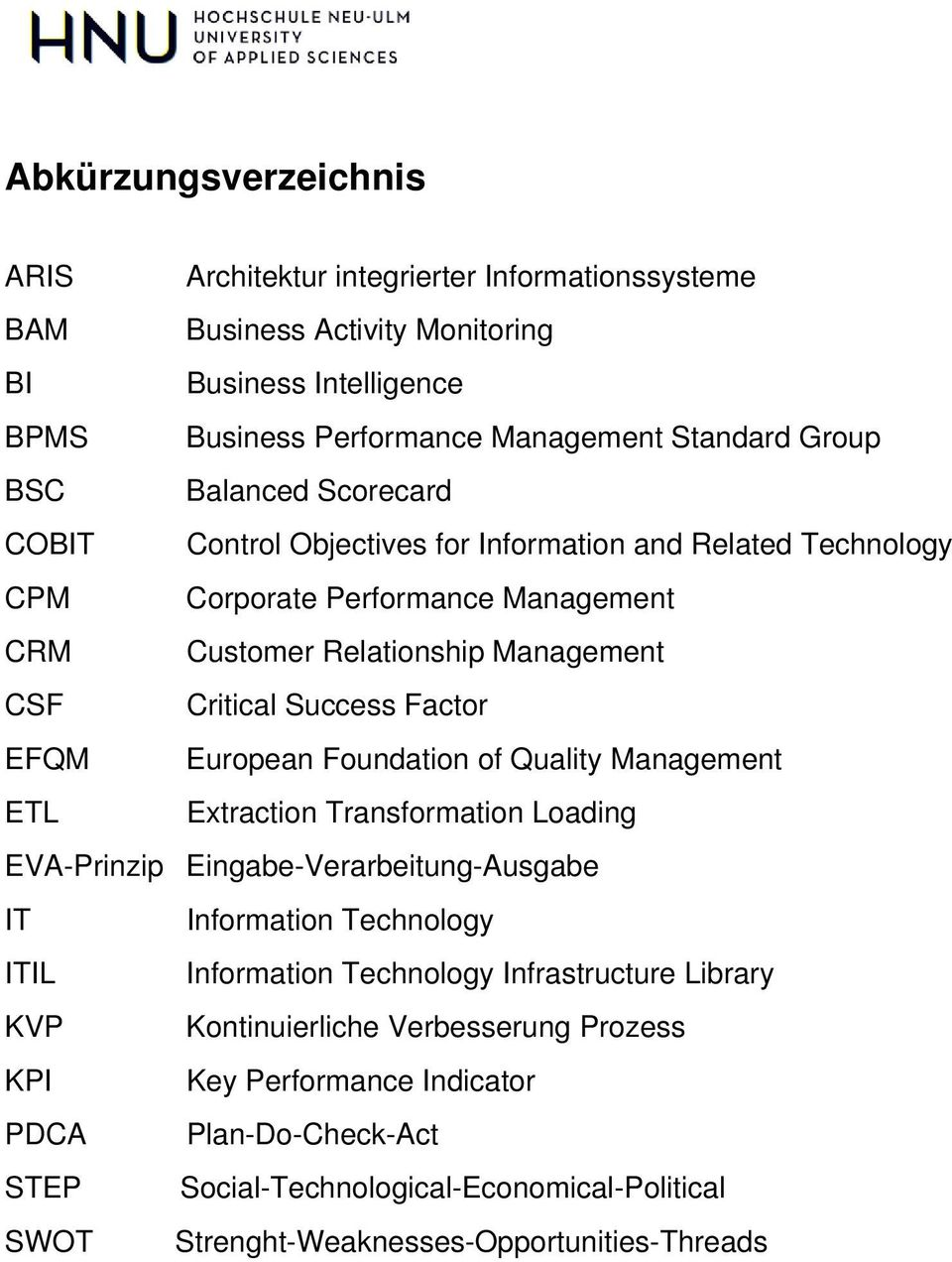 European Foundation of Quality Management ETL Extraction Transformation Loading EVA-Prinzip Eingabe-Verarbeitung-Ausgabe IT Information Technology ITIL Information Technology Infrastructure