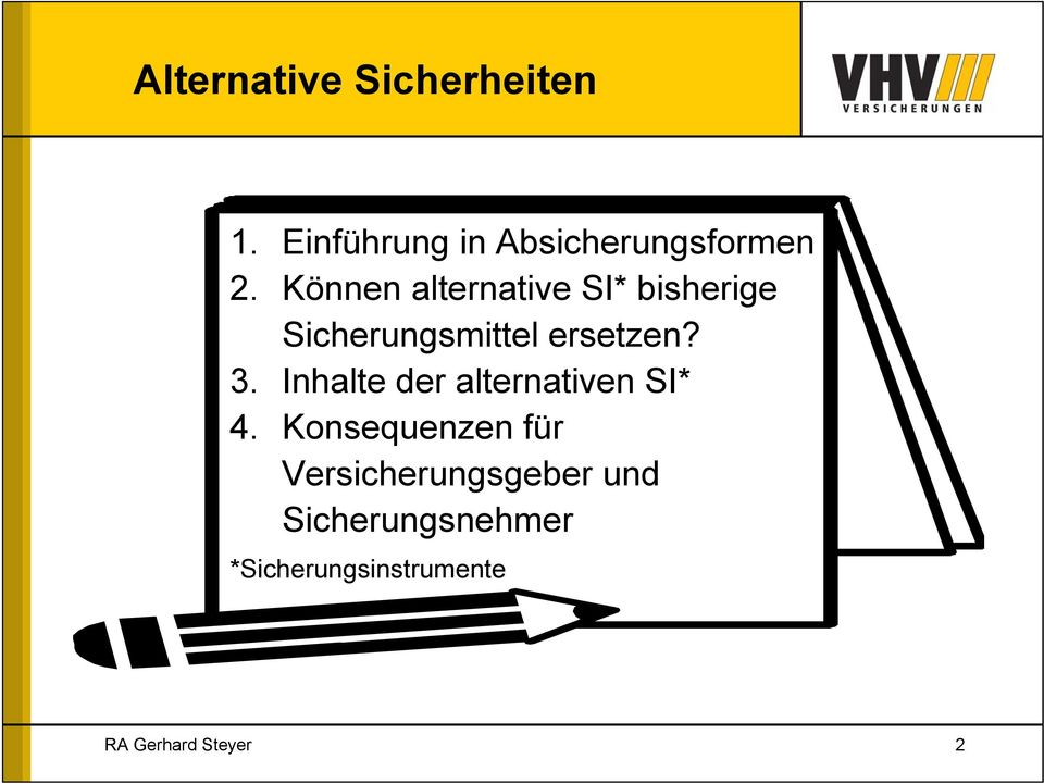 3. Inhalte der alternativen SI* 4.