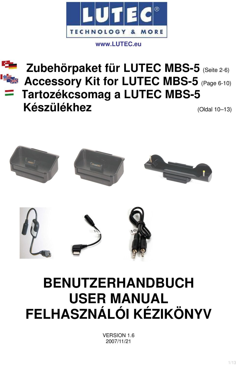 for LUTEC MBS-5 (Page 6-10) Tartozékcsomag a LUTEC MBS-5