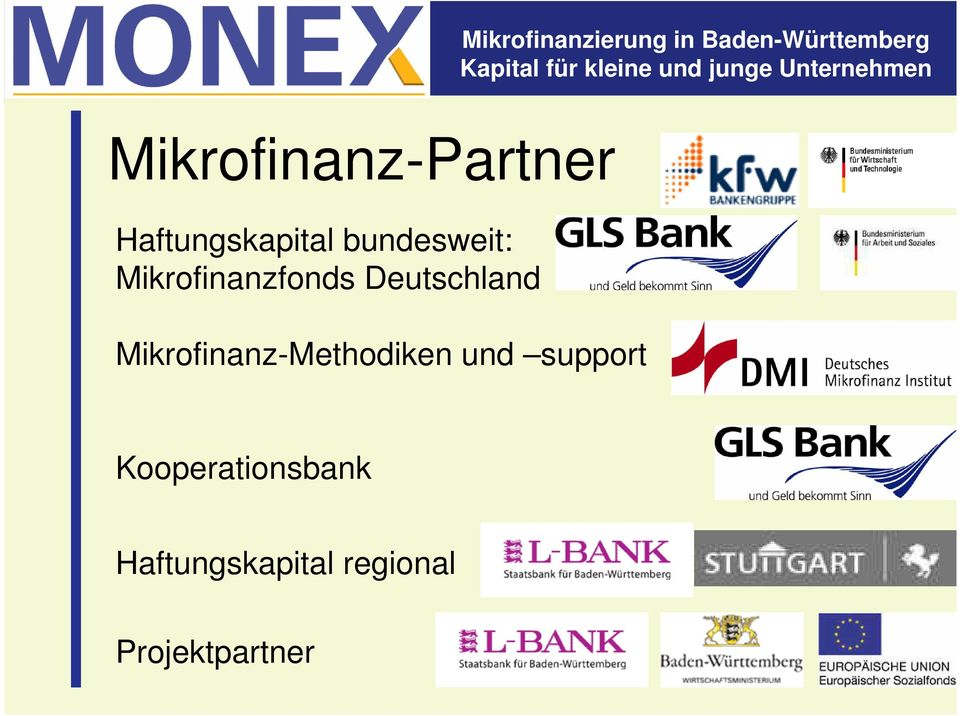 Mikrofinanz-Methodiken und support