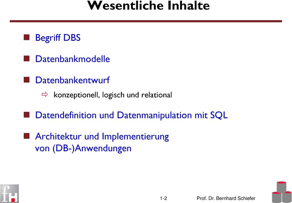 Datendefinition und Datenmanipulation mit SQL Architektur