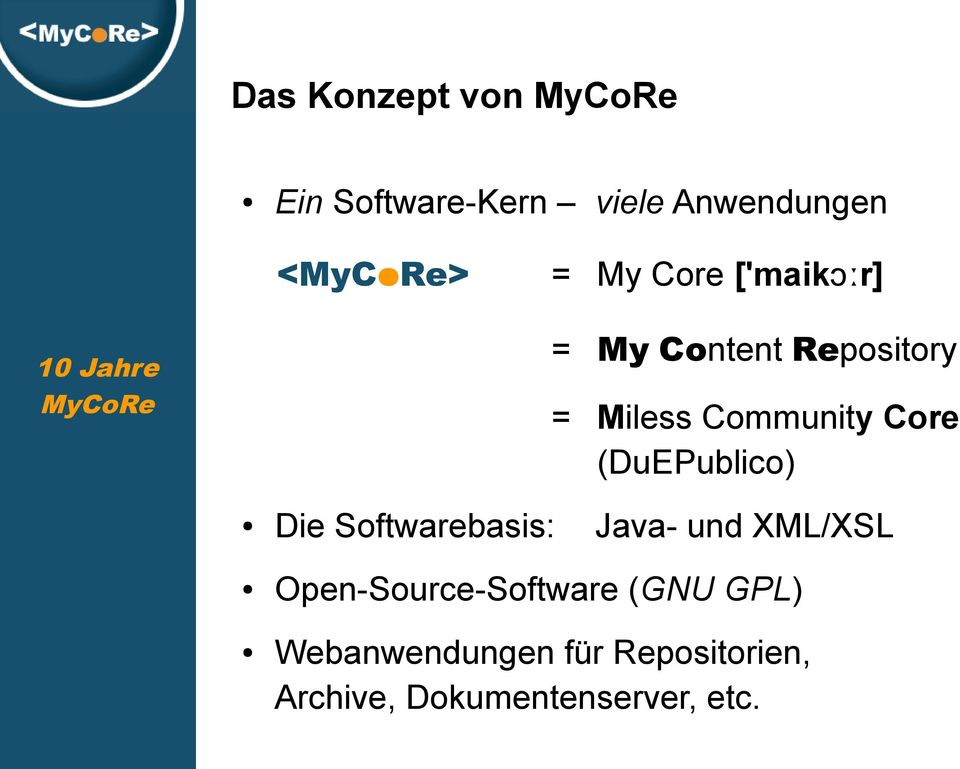 Core (DuEPublico) Die Softwarebasis: Open-Source-Software (GNU GPL) Java-