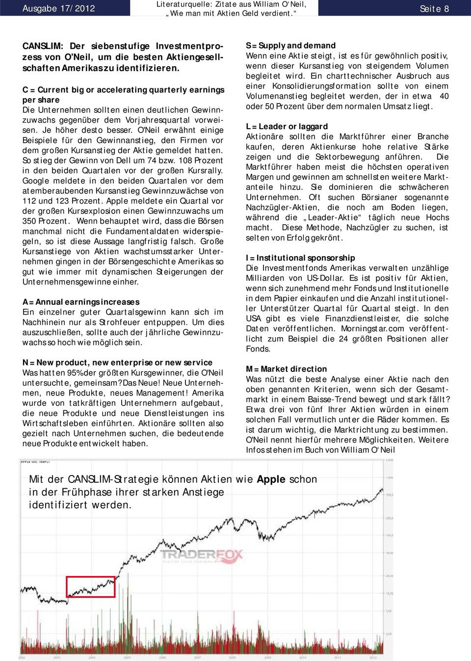 C = Current big or accelerating quarterly earnings per share Die Unternehmen sollten einen deutlichen Gewinnzuwachs gegenüber dem Vorjahresquartal vorweisen. Je höher desto besser.