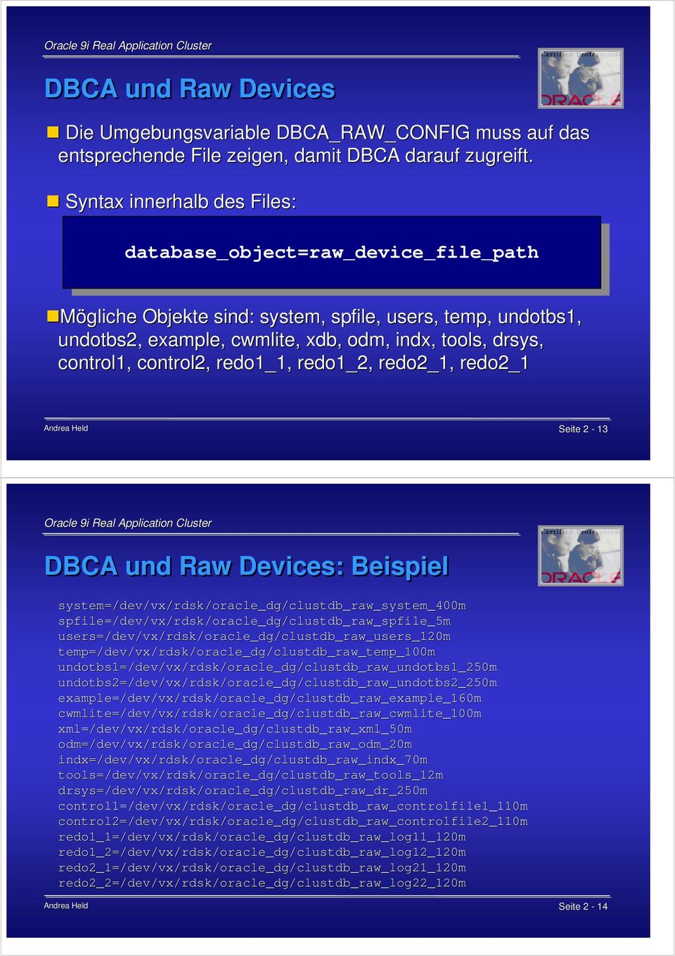 control2, redo1_1, redo1_2, redo2_1, redo2_1 Seite 2-13 DBCA und Raw Devices: Beispiel system=/dev dev/vx/rdsk/oracle_dg/clustdb_raw_system_400m spfile=/ =/dev/vx/rdsk/oracle_dg/clustdb_raw_spfile_5m