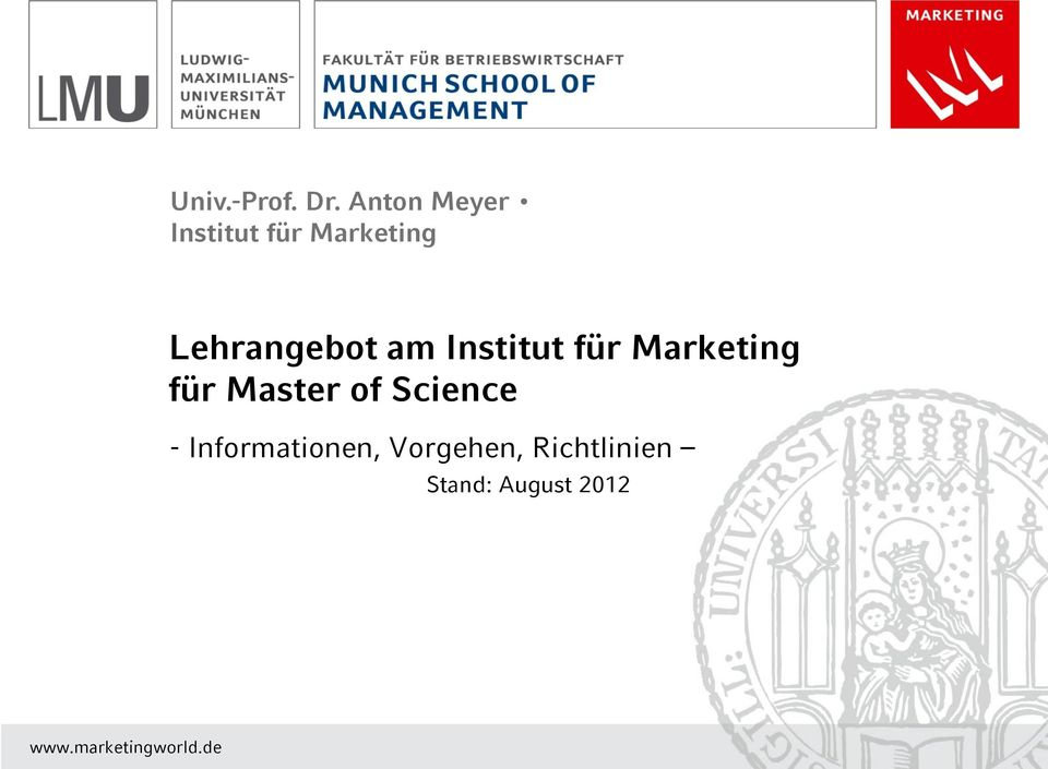 am Institut für Marketing für Master of Science