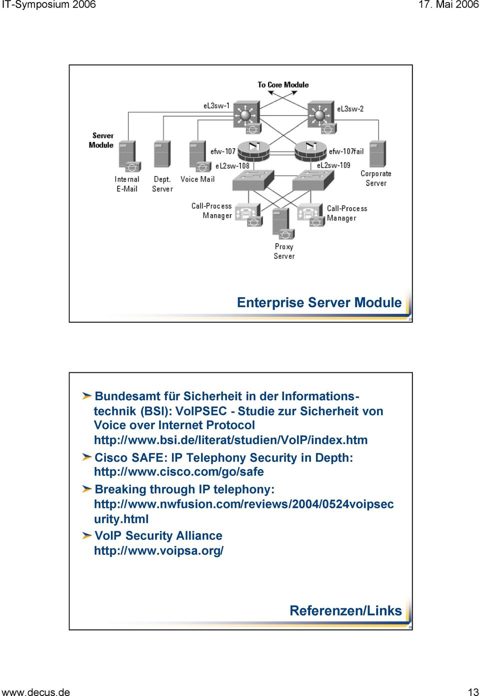 htm Cisco SAFE: IP Telephony Security in Depth: http://www.cisco.