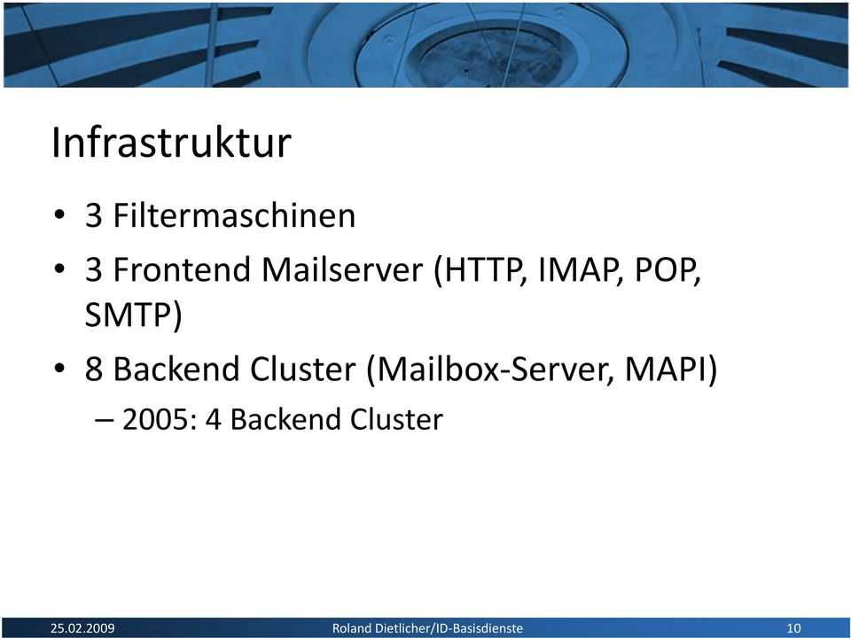 Cluster (Mailbox Server, MAPI) 2005: 4 Backend