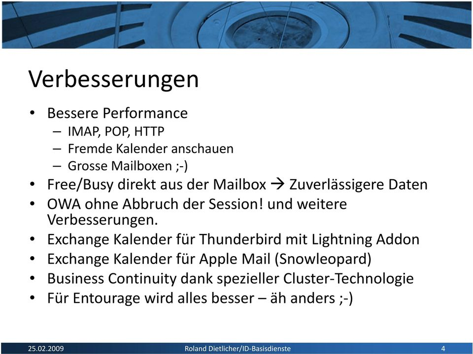 Exchange Kalender für Thunderbird mit Lightning Addon Exchange Kalender für Apple Mail (Snowleopard) Business