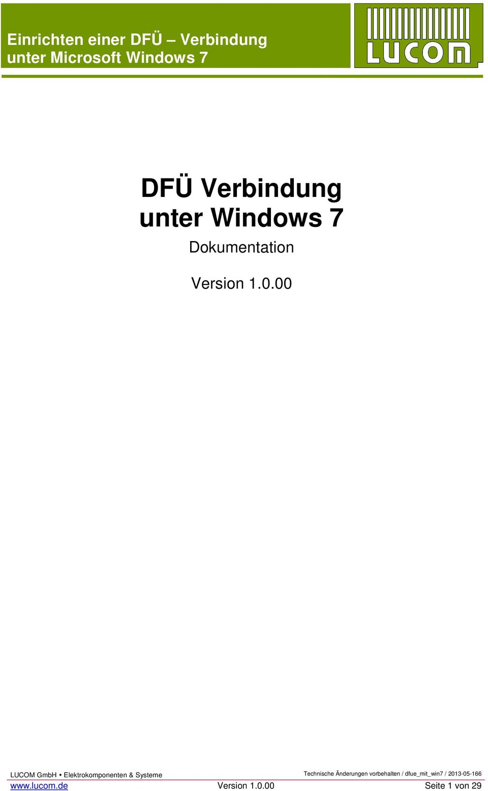 unter Windows 7 Dokumentation Version 1.