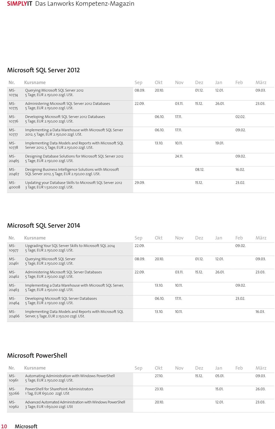 2012, Implementing Data Models and Reports with Microsoft SQL Server 2012, Designing Database Solutions for Microsoft SQL Server 2012 Designing Business Intelligence Solutions with Microsoft SQL