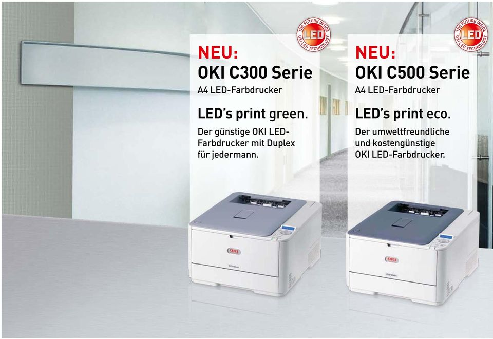 NEU: OKI C500 Serie A4 LED-Farbdrucker LED s print eco.
