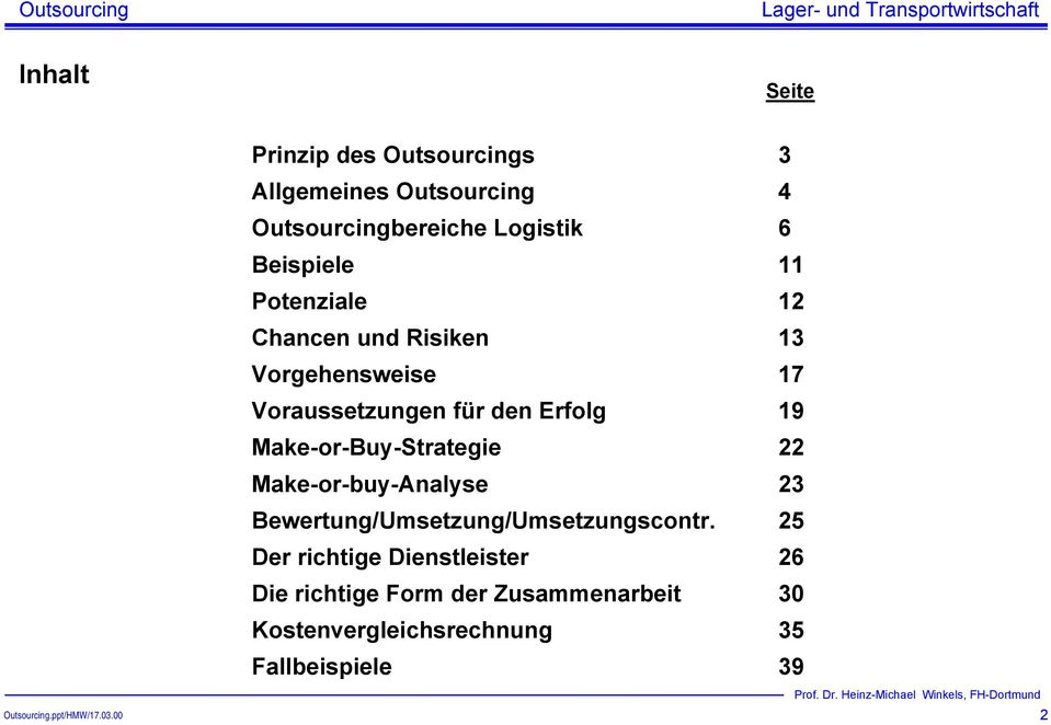 19 Make-or-Buy-Strategie 22 Make-or-buy-Analyse 23 Bewertung/Umsetzung/Umsetzungscontr.