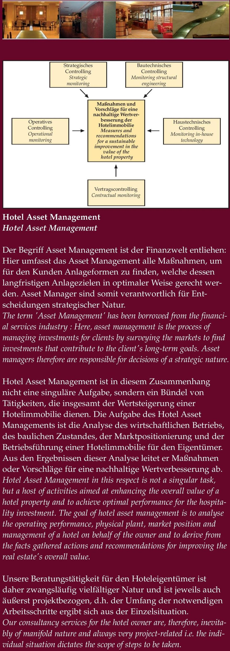 Vertragscontrolling Contractual monitoring Hotel Asset Management Hotel Asset Management Der Begriff Asset Management ist der Finanzwelt entliehen: Hier umfasst das Asset Management alle Maßnahmen,