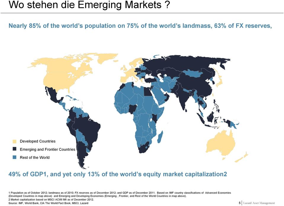13% of the world s equity market capitalization2 1 Population as of October 2012; landmass as of 2010; FX reserves as of December 2012; and GDP as of December 2011.