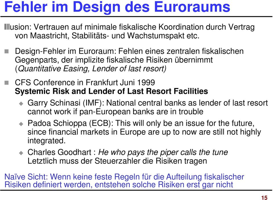 1999 Systemic Risk and Lender of Last Resort Facilities Garry Schinasi (IMF): National central banks as lender of last resort cannot work if pan-european banks are in trouble Padoa Schioppa (ECB):