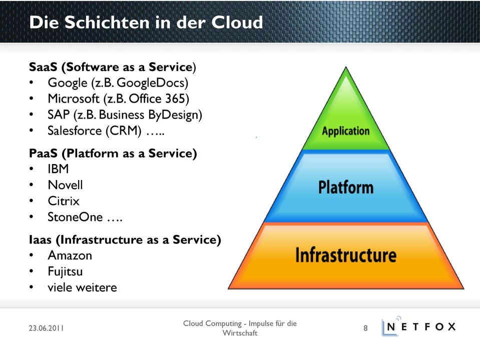 . PaaS (Platform as a Service) IBM Novell Citrix StoneOne.