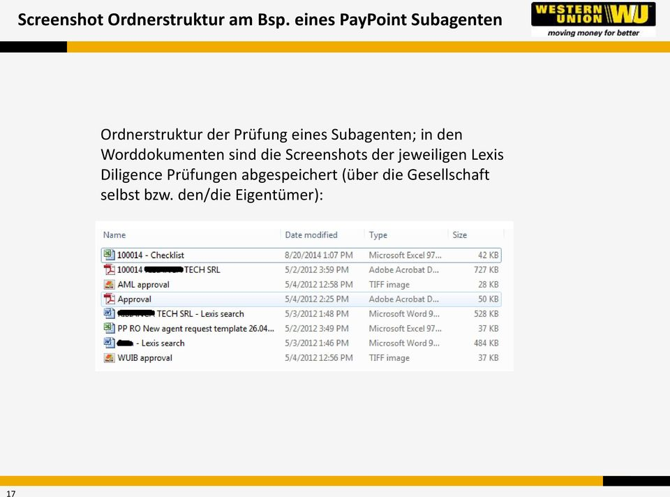 Subagenten; in den Worddokumenten sind die Screenshots der