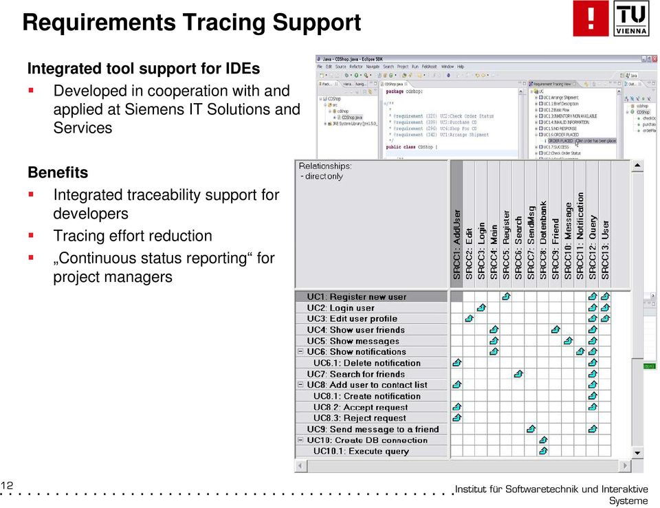 and Services Benefits Integrated traceability support for developers