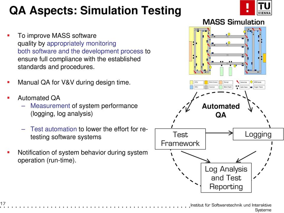 MASS Simulation Automated QA Measurement of system performance (logging, log analysis) Test automation to lower the effort for