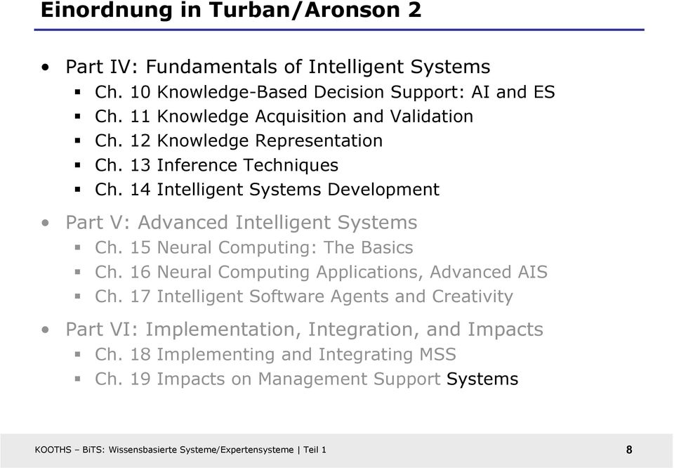 14 Intelligent Systems Development Part V: Advanced Intelligent Systems Ch. 15 Neural Computing: The Basics Ch.