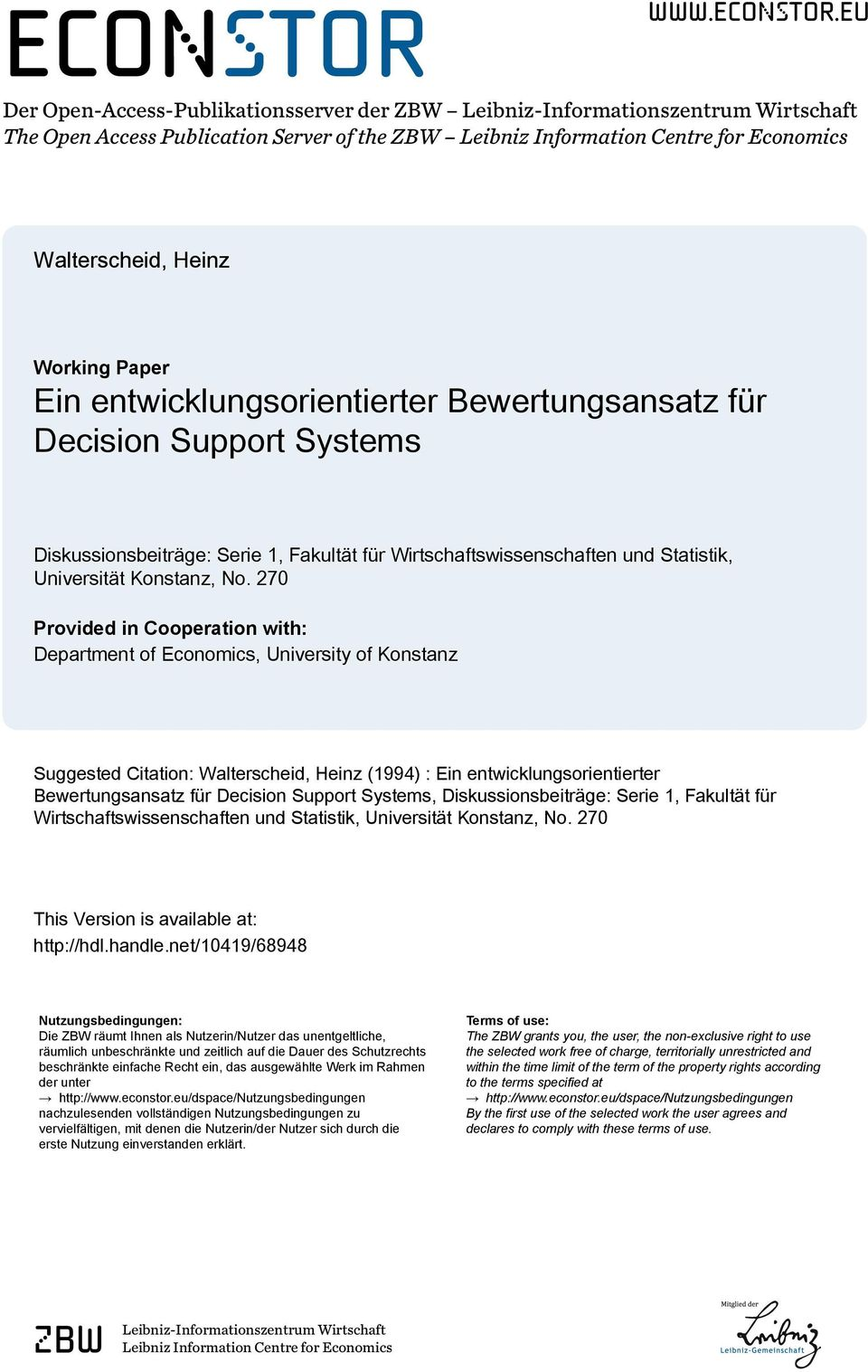 eu Der Open-Access-Publikationsserver der ZBW Leibniz-Informationszentrum Wirtschaft The Open Access Publication Server of the ZBW Leibniz Information Centre for Economics Walterscheid, Heinz Working