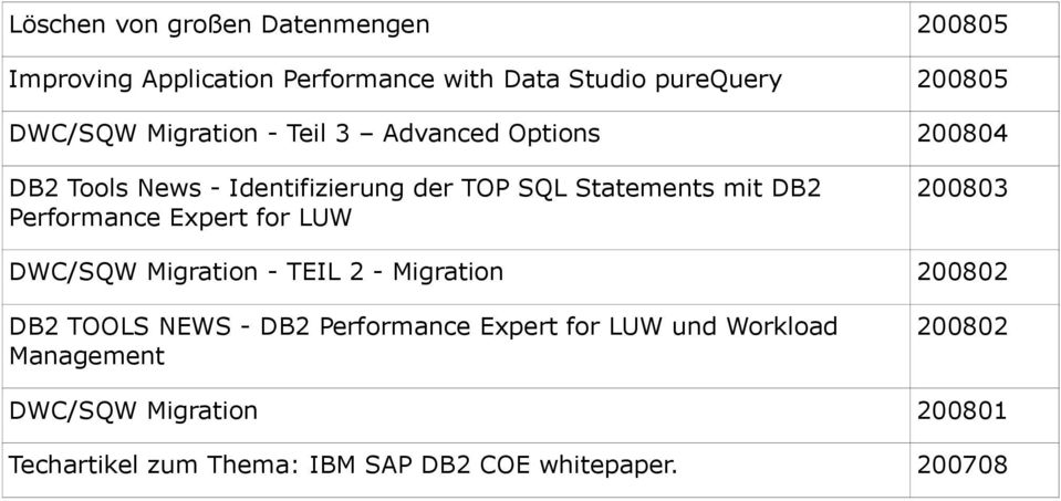 Performance Expert for LUW 200803 DWC/SQW Migration - TEIL 2 - Migration 200802 DB2 TOOLS NEWS - DB2 Performance