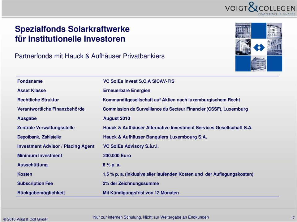 Verwaltungsstelle Depotbank, Zahlstelle Investment Advisor / Placing Agent Minimum Investment Hauck & Aufhäuser Alternative Investment Services Gesellschaft S.A. Hauck & Aufhäuser Banquiers Luxembourg S.