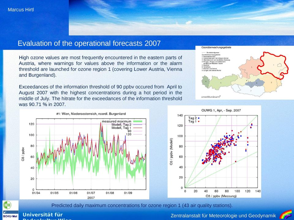 Exceedances of the information threshold of 90 ppbv occured from April to August 2007 with the highest concentrations during a hot period in the middle