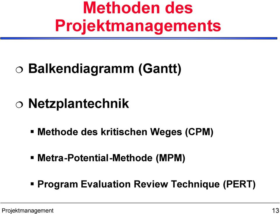Weges (CPM) Metra-Potential-Methode (MPM) Program