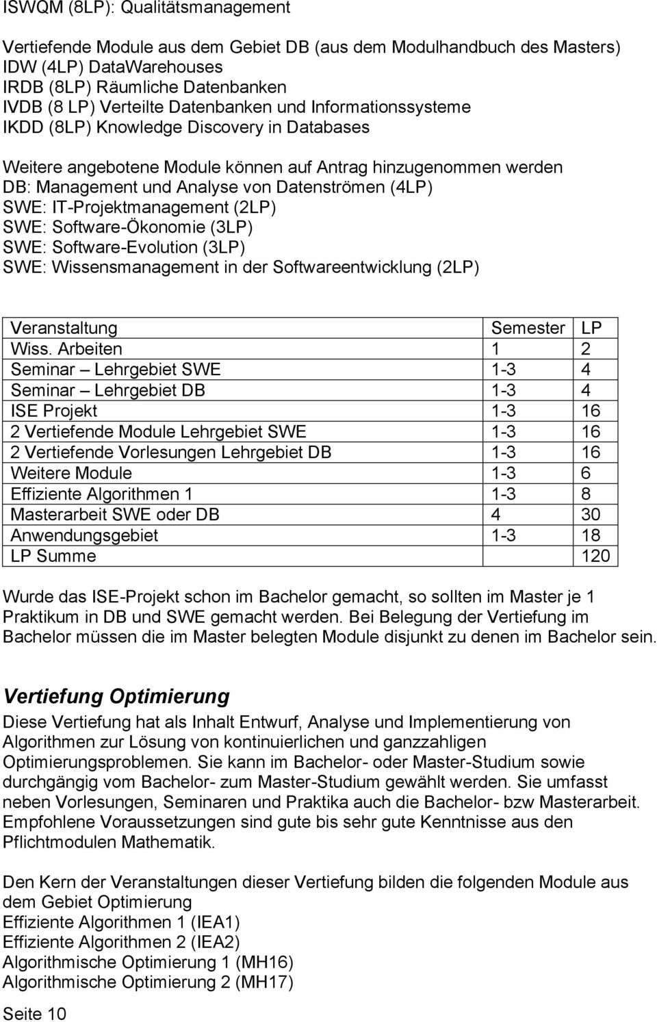 IT-Projektmanagement (2LP) SWE: Software-Ökonomie (3LP) SWE: Software-Evolution (3LP) SWE: Wissensmanagement in der Softwareentwicklung (2LP) Veranstaltung Semester LP Wiss.