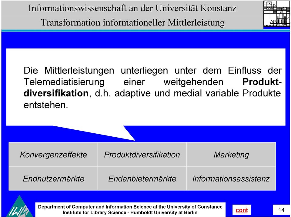 Produktdiversifikation, d.h. adaptive und medial variable Produkte entstehen.