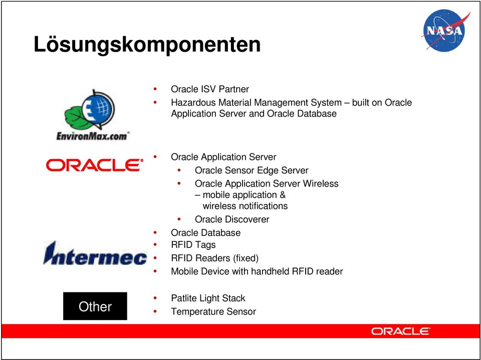 Server Wireless mobile application & wireless notifications Oracle Discoverer Oracle Database RFID