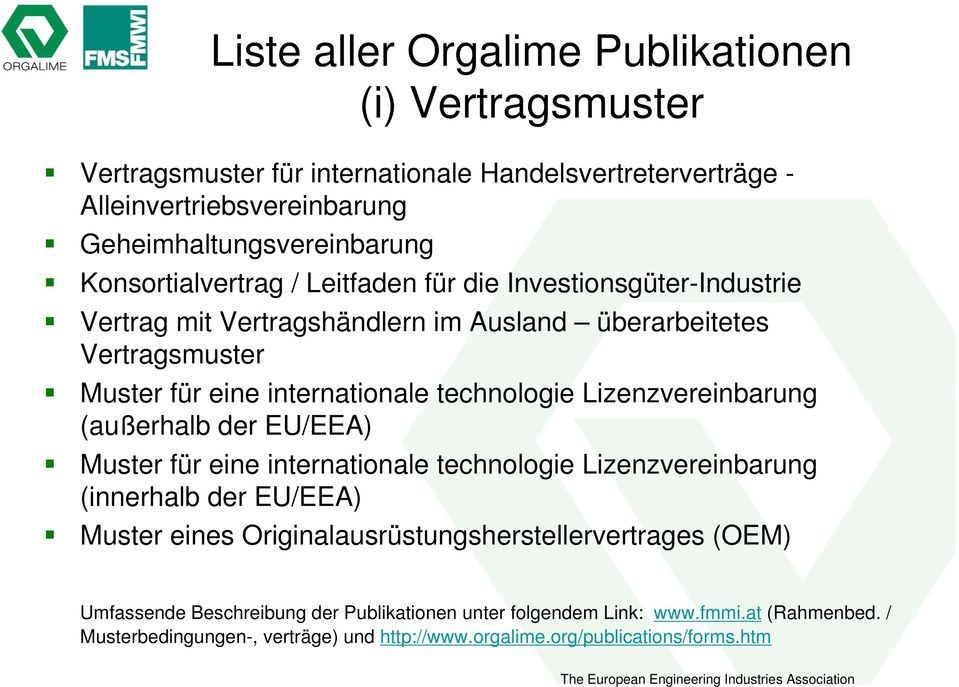 Orgalime Rechtstexte The European Engineering Industries