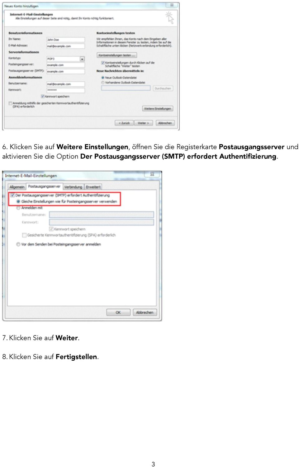 Option Der Postausgangsserver (SMTP) erfordert