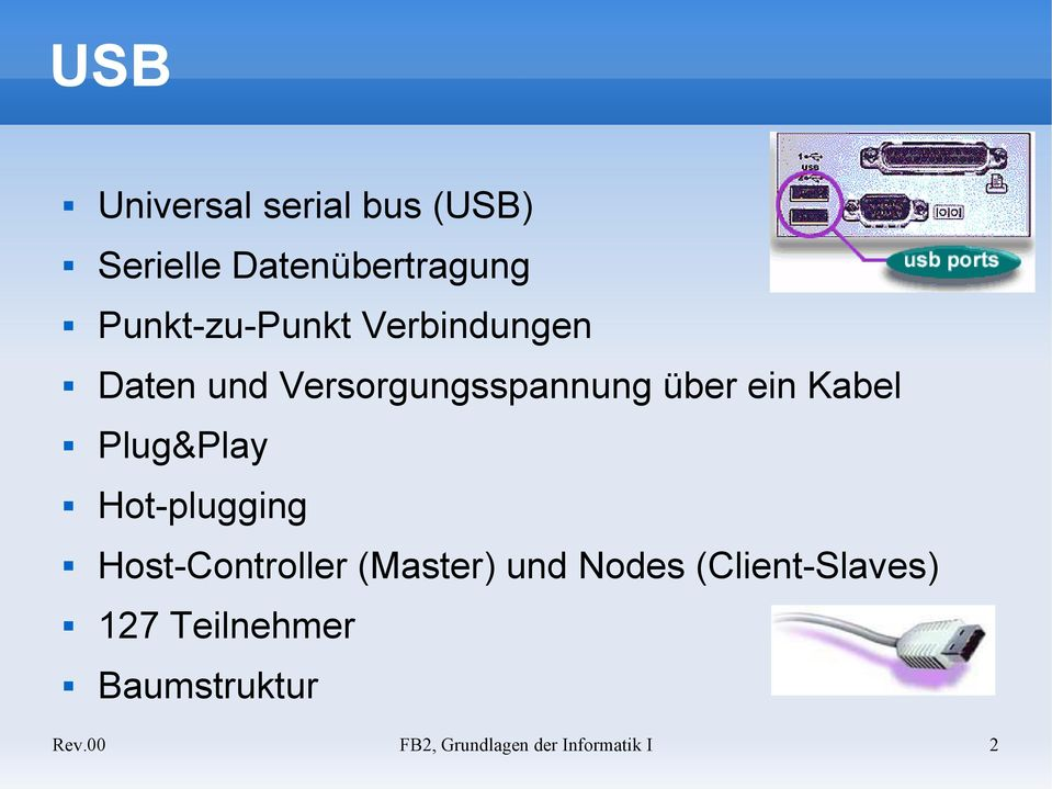 Kabel Plug&Play Hot-plugging Host-Controller (Master) und Nodes