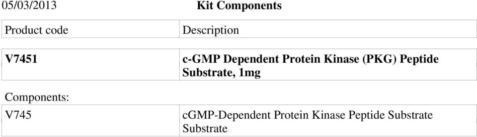 Protein Kinase (PKG) Peptide Substrate, 1mg