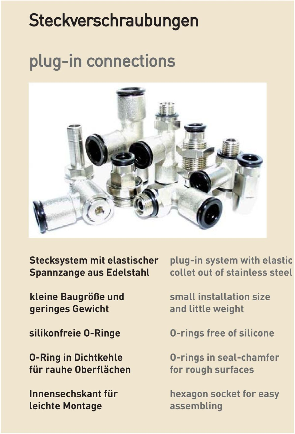 Innensechskant für leichte Montage plug-in system with elastic collet out of stainless steel small