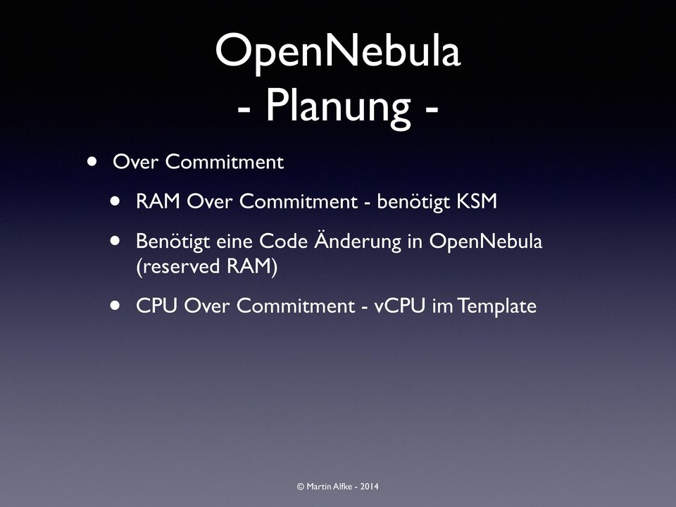 Code Änderung in OpenNebula (reserved