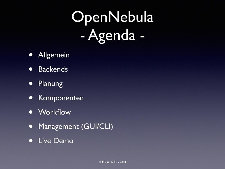 Workflow OpenNebula -
