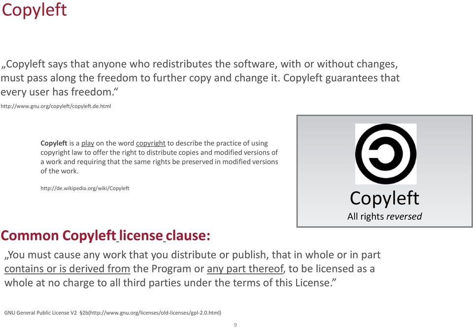 html Copyleft is a play on the word copyright to describe the practice of using copyright law to offer the right to distribute copies and modified versions of a work and requiring that the same
