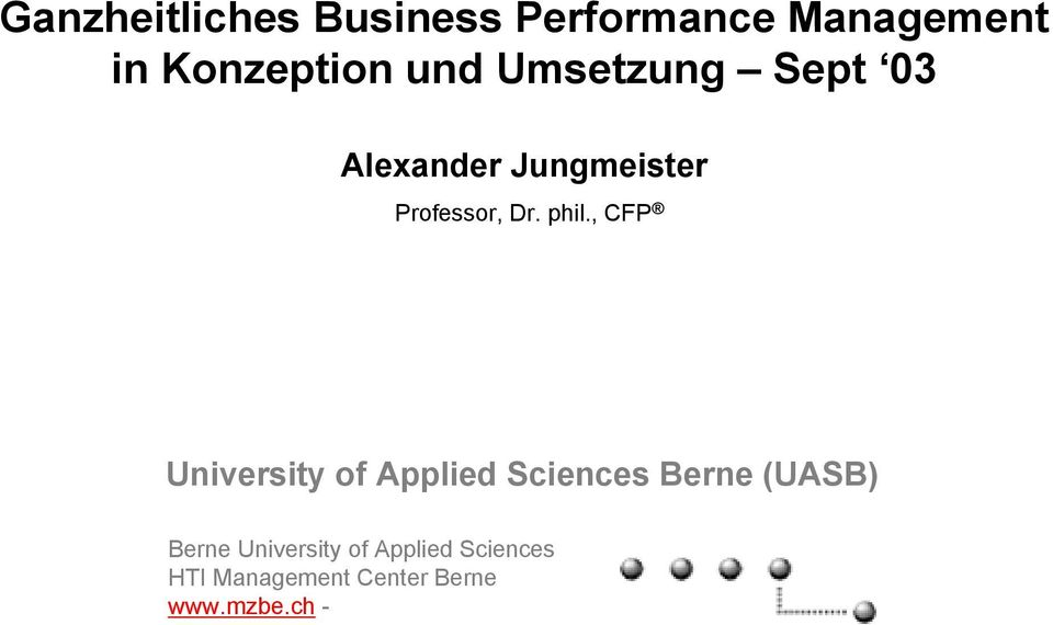 , CFP University of Applied Sciences Berne (UASB) Berne