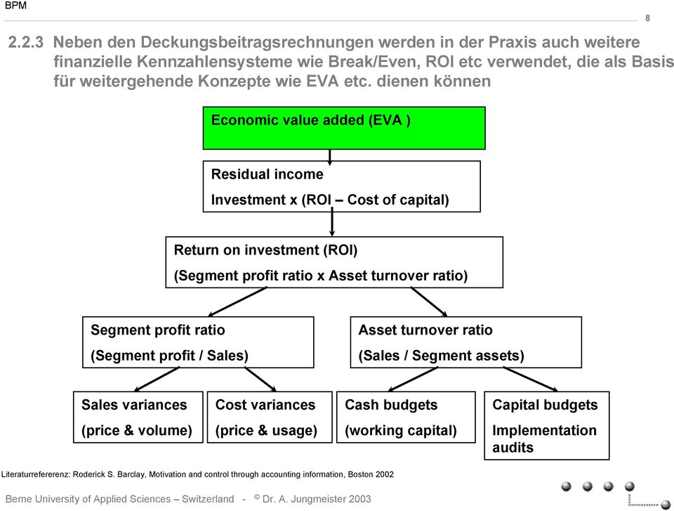 dienen können 8 Economic value added (EVA ) Residual income Investment x (ROI Cost of capital) Return on investment (ROI) (Segment profit ratio x Asset turnover ratio)