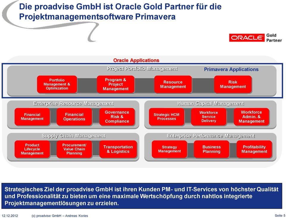 & Supply Chain Enterprise Performance Product Lifecycle Procurement/ Value Chain Planning Transportation & Logistics Strategy Business Planning Profitability Strategisches Ziel der proadvise GmbH