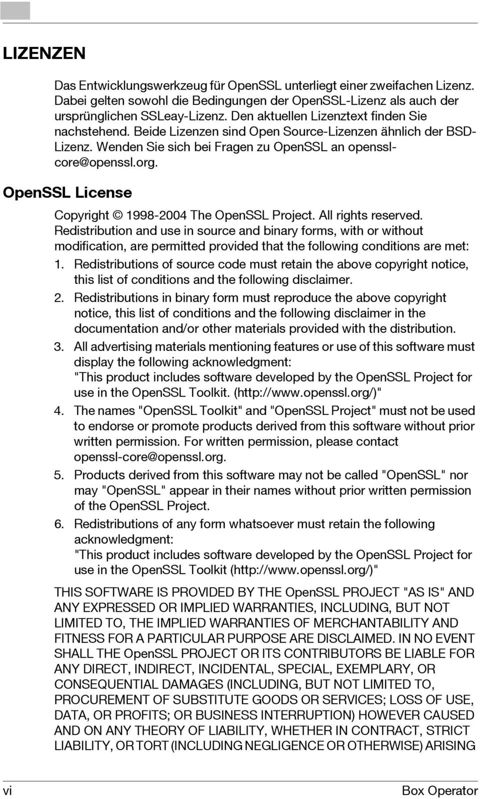 OpenSSL License Copyright 1998-2004 The OpenSSL Project. All rights reserved.