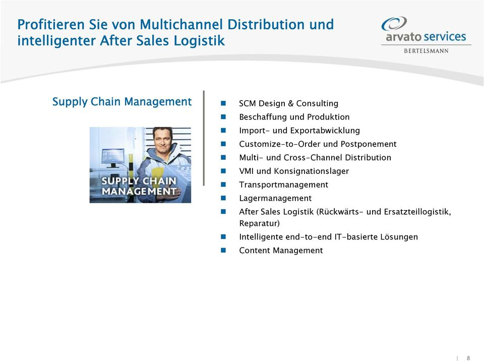 Multi- und Cross-Channel Distribution VMI und Konsignationslager Transportmanagement Lagermanagement After Sales
