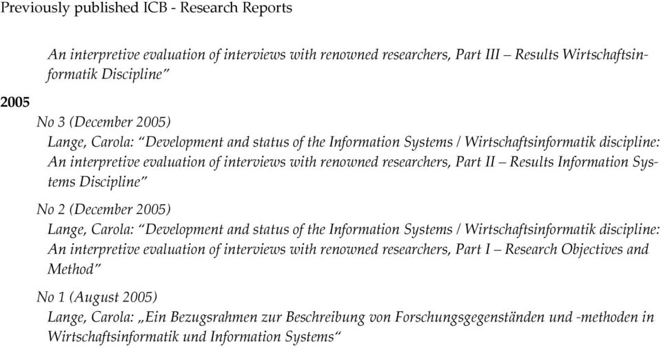 Systems Discipline No 2 (December 2005) Lange, Carola: Development and status of the Information Systems / Wirtschaftsinformatik discipline: An interpretive evaluation of interviews with renowned