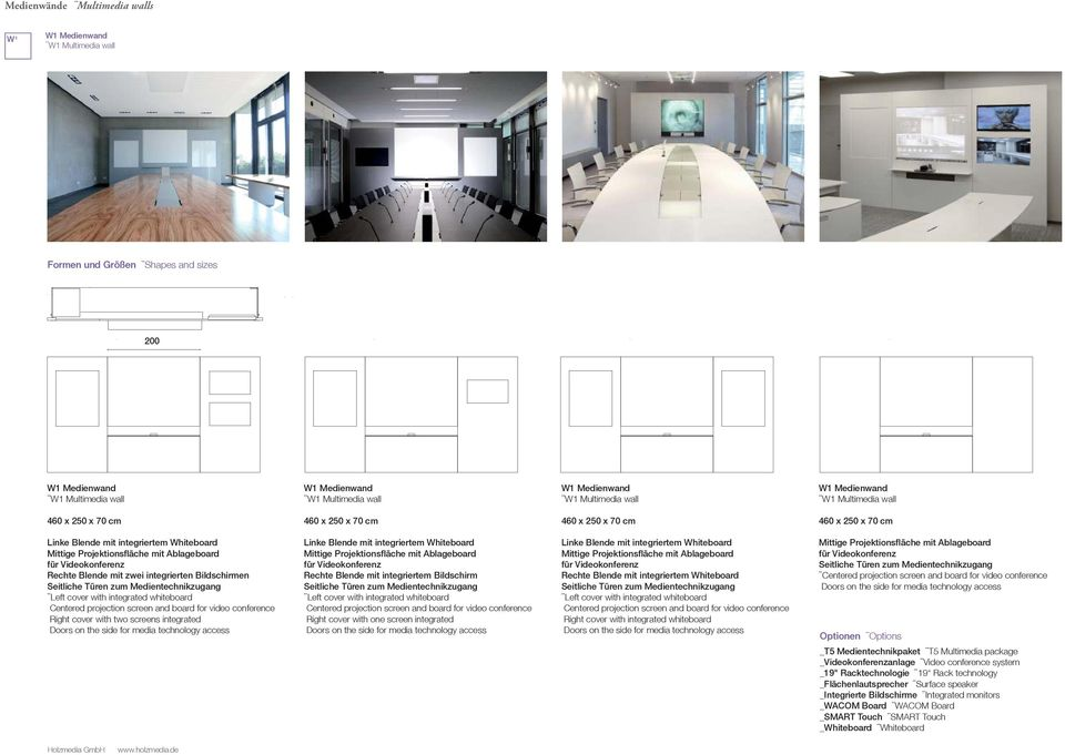 screen and board for video conference Right cover with two screens integrated Doors on the side for media technology access Linke Blende mit integriertem Whiteboard Mittige Projektionsfläche mit