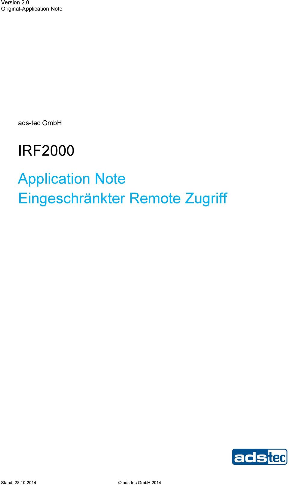 GmbH IRF2000 Application Note